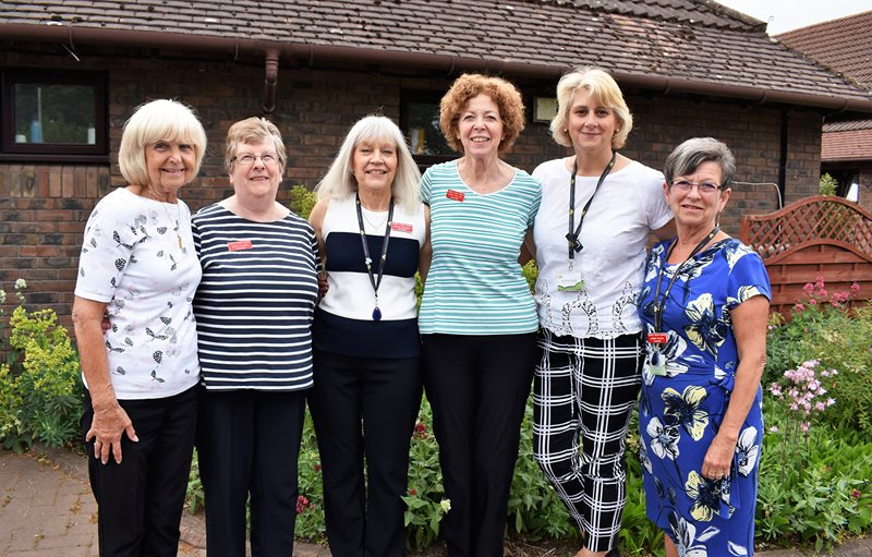 Lindsey Lodge Hospice volunteers are pictured at the Hospice with Volunteer Services Manager Nerissa Gallagher (second right).