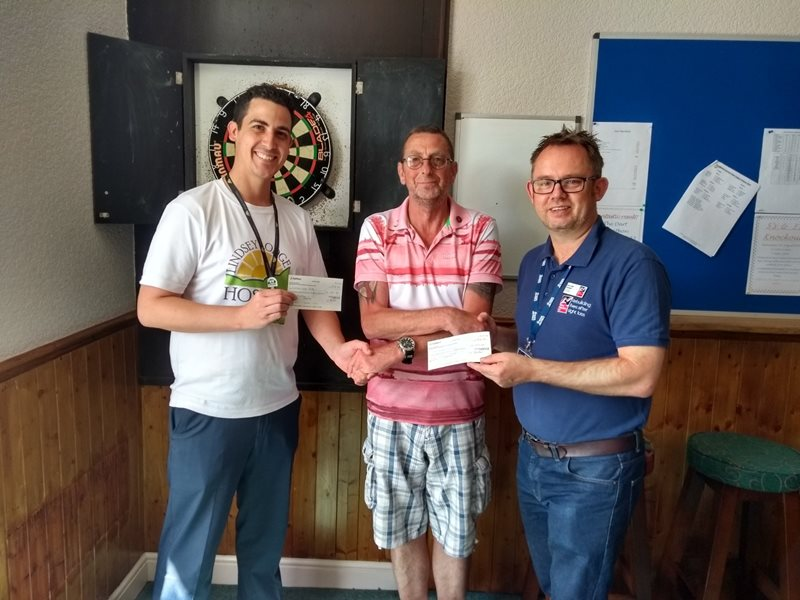 Lindsey Lodge Hospice Fundraiser Peter Dennis (left) is pictured with Mark Curtis (centre) of Butler's and Barry Harteveld, Community and Events Fundraising Manager NE & Mids Blind Veterans UK (right).