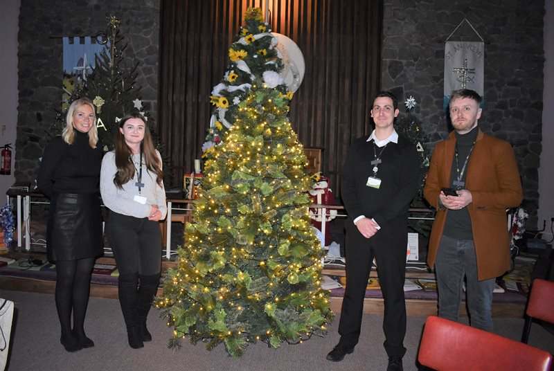 (From left to right) Lindsey Loge Hospice Fundraiser Selina Doyle, Fundraising Assistant Sophie Boyd, Fundraiser Peter Dennis and Head of Fundraising Tom Moody are pictured making preparations for the Lindsey Lodge Hospice Light up a Life Service.